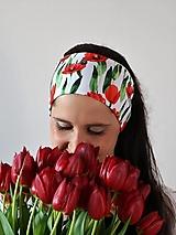 Ozdoby do vlasov - Úpletová čelenka tulipány biela - 13383768_