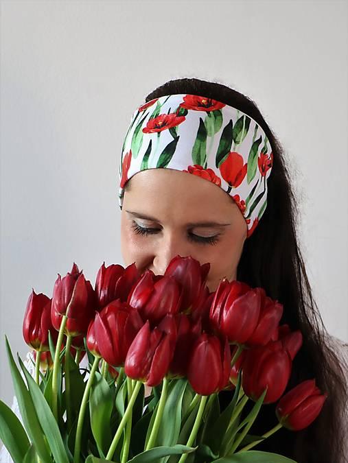 Úpletová čelenka tulipány biela