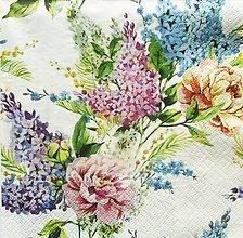 Papier - S1361 - Servítky - kvety, orgován, ruža, jar, nezábudka - 13382883_