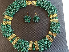 Sady šperkov - Sada Kleopatra/luxusná/Malachit - 13385370_