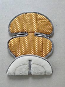 Textil - VLNIENKA podložka do autosedačky Klippan Dinofix vajíčko 0+ / 0-13kg 100% Merino proti poteniu Bodka horčicová - 13383811_