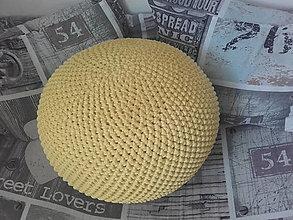 Úžitkový textil - Háčkovaný PUF pastelova žltá - 13382806_