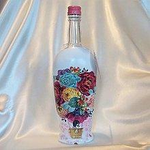 Nádoby - Darčeková fľaša s vlastným nadpisom V kvietkovom balóne - 13384664_