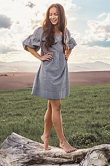 Šaty - Letné kockované šaty na dojčenie s puff rukávmi - 13383293_