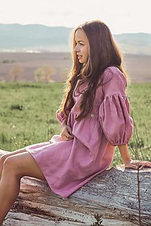 Šaty - Letné ľanové šaty na dojčenie s puff rukávmi - 13383360_