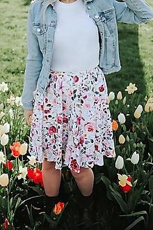 Sukne - BLOOM - kruhová dámska sukňa (úplet GOTS) - 13359111_