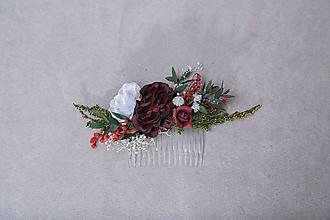 """Ozdoby do vlasov - Kvetinový hrebienok """"bozk pri zotmení"""" - 13384649_"""