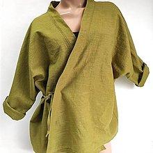 Iné oblečenie - Ľanový kabátik kimonového vzhľadu - 13383078_