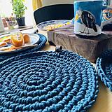 Úžitkový textil - Petrolejové Prestieranie s Koženým Uškom pre Štyri - 13385783_