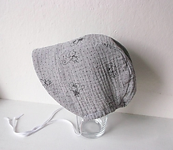 Detské čiapky - čepček/šedá mýška/3/6 mesiacov - 13383923_