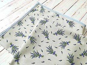 Úžitkový textil - Štvorcový obrus-režné plátno levanduľa - 13383054_