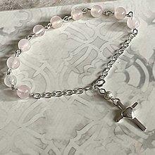 Náramky - Rosary Silver 925 Rose Quartz Bracelet / Strieborný ruženec na ruku alebo do auta s ruženínom - Ag 925 - 13386414_