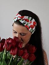 Iné doplnky - Prekrížená úpletová čelenka tulipány biela - 13386128_