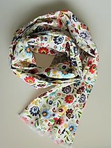 Šály - Ľanový šál folkové kvety - 13386784_