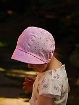 Detské čiapky - Letný detský čepiec Eliška ružový - 13387442_