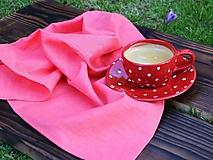 Úžitkový textil - Ľanová utierka koralová - 13387579_