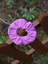 Ozdoby do vlasov - Scrunchies ľanová gumička ružovo fialová - 13388956_