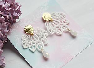 Náušnice - Svadobné boho náušnice s čipkou so strieborným/pozláteným/rosegold zapínaním - 13387091_