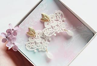 Náušnice - Svadobné náušnice s čipkou - 13387414_