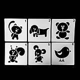 Nezaradené - Plastové šablóny pre deti, sada 6 ks, zvieratká - 13388074_
