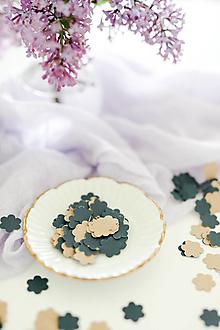 Materiál ručne robený - Modrohnedé recy kvetinky 100ks - 13386976_