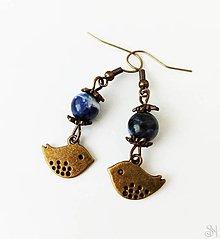 Náušnice - Handmade náušnice z liečivého kameňa sodalitu s vtáčikom - 13386481_