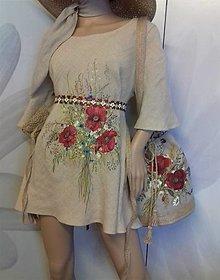 """Šaty - Ľanové, ručne maľované šaty """" Lúčna kytica s makmi """" (pieskový béžový ľan + kytica s makmi) - 13386928_"""