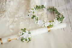 Detské doplnky - Set na 1.sväté prijímanie:  kvetinový venček a ozdoba na sviecu na prvé sväté prijímanie - 13389669_