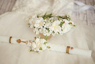 Detské doplnky - Set na 1.sväté prijímanie:  kvetinový venček a ozdoba na sviecu na prvé sväté prijímanie - 13389602_