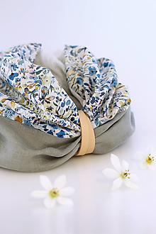 """Šatky - Kvetinový exkluzívny nákrčník z ľanu a bavlny """"Claire"""" - 13386000_"""