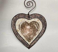 Dekorácie - Dekorácia - keramické srdce zo sklom. - 13386813_