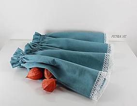 Detské oblečenie - Ľanová sukňa s krajkou a vreckami- detská - 13389217_