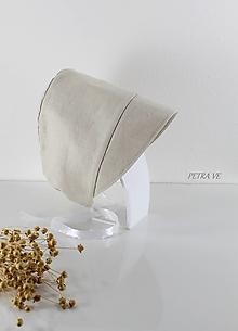 Detské čiapky - Taupe - detský ľanový čepček - 13389528_