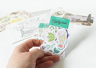 Papier - Samolepky - Kvety mix - 13389446_