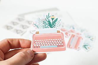 Papier - Samolepky - Písací stroj - 13389464_