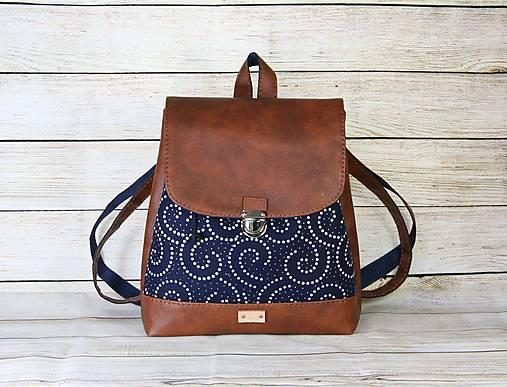 modrotlačový batoh Martin hnedý 5