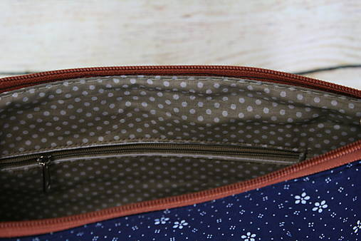 modrotlačová kabelka Dara hnedá XL set 2