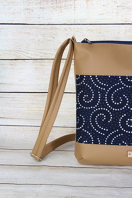 modrotlačová kabelka Dara béžová XL set 2