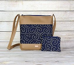 Kabelky - modrotlačová kabelka Dara béžová XL set 2 - 13388474_