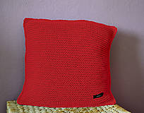 Úžitkový textil - Pletený polštářek 40x40cm (Červená) - 13387992_