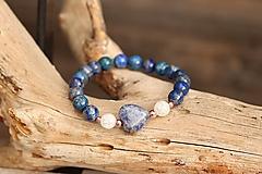 Náramky - Náramok so srdiečkom a minerálom (Lapis lazuli, krištáľ + jaspis) - 13387590_