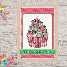 Papiernictvo - Pohľadnica koláčik jahodový - 13386570_