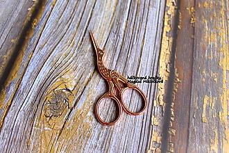 Nástroje - Nožnice - bocian zlaté s medeným nádychom - 13391038_