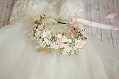 Ozdoby do vlasov - Veľký ružovo-biely svadobný venček - 13389726_