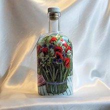 Nádoby - Ozdobná fľaša Kytička lúčnych kvetín - 13391710_