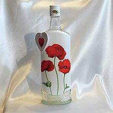 Nádoby - Darčeková fľaša Divé maky - 13391739_
