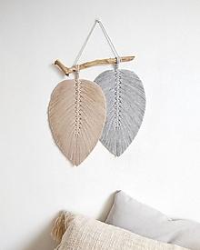 Dekorácie - Makramé závesná dekorácia NATURE (Béžová/sivá) - 13393036_