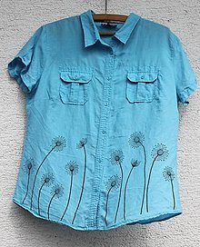 Košele - Dámska ľanová letná košeľa ručne maľovaná tyrkysová veľkosť 44 - 13390276_