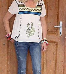Topy - Hippie balnený top veľkosť M ručne maľovaný Woodstock - 13391017_