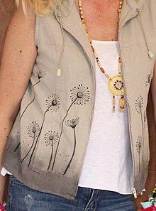 Iné oblečenie - Ľanový letný top veľkosť 34 - 36 mikina s kapucňou bez rukávov Ľanová vesta - 13391036_